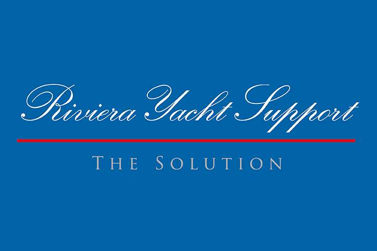 RIviera Yacht Support logo on a blue background.