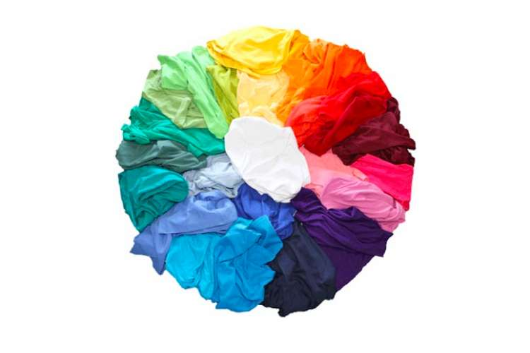 Image of a colour wheel made out of coloured fabrics